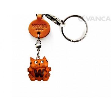 Initial Cat W Leather Animal Keychain