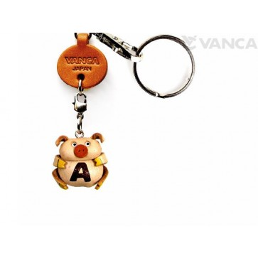 Initial Pig A Leather Animal Keychain