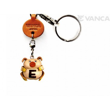 Initial Pig E Leather Animal Keychain