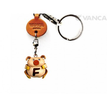 Initial Pig F Leather Animal Keychain