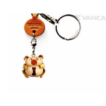 Initial Pig I Leather Animal Keychain