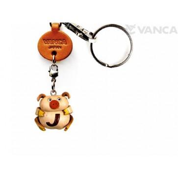 Initial Pig J Leather Animal Keychain