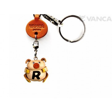 Initial Pig R Leather Animal Keychain