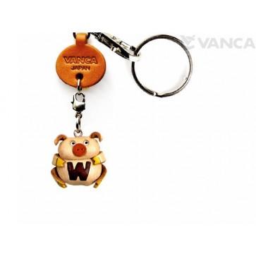 Initial Pig W Leather Animal Keychain