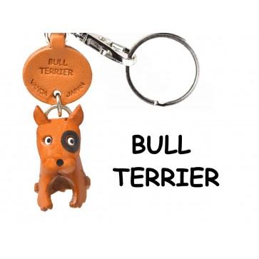 Bull Terrier Leather Dog Keychain
