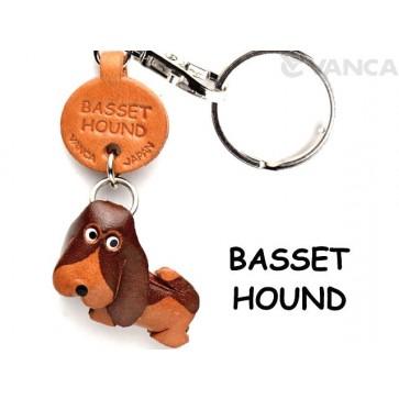 Basset Hound Leather Dog Keychain