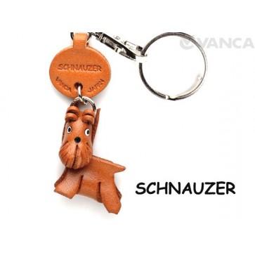 Schnauzer Leather Dog Keychain
