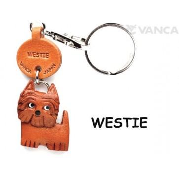 Westie Leather Dog Keychain