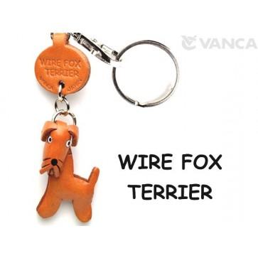 Wire Fox Terrier Leather Dog Keychain