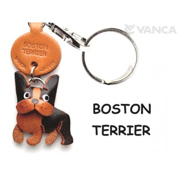 Boston Terrier Leather Dog Keychain