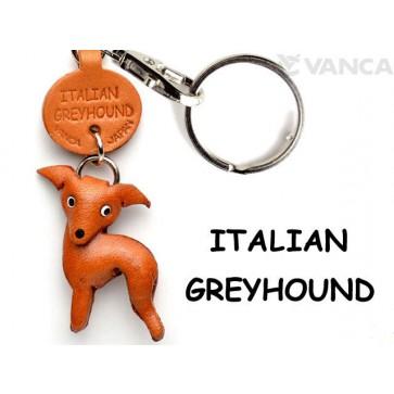 Italian Greyhound Leather Dog Keychain