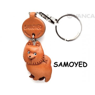 Samoyed Leather Dog Keychain