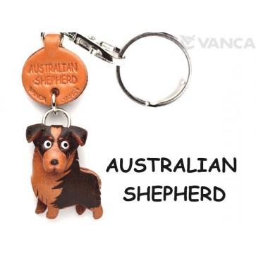 Australian Shepherd Leather Dog Keychain