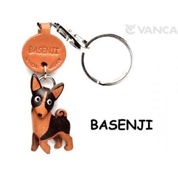 Basenji Leather Dog Keychain