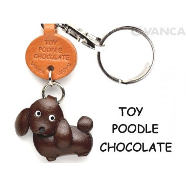 Toy Poodle Chocolate Brown Leather Dog Keychain
