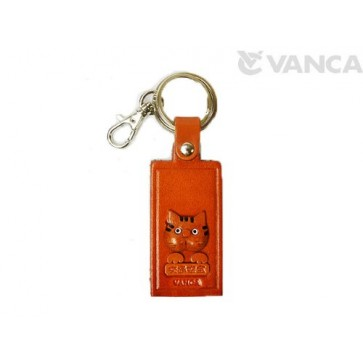 Cat Leather Name Plate Holder Keychain