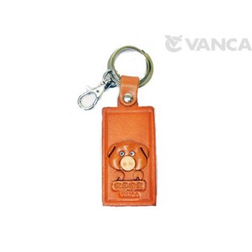 Pig Leather Name Plate Holder Keychain