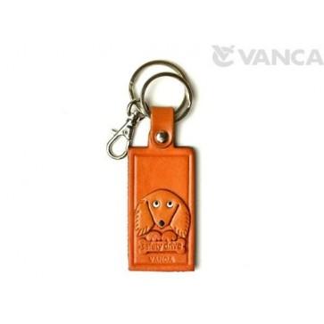 DachshundLeather Name Plate Holder Keychain