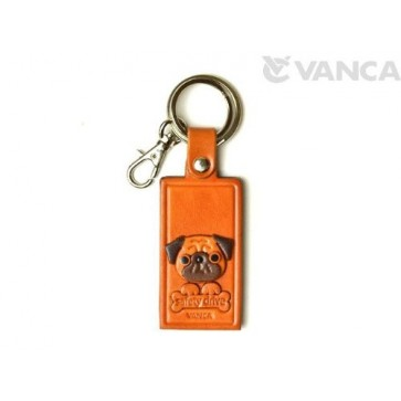 Pug Leather Name Plate Holder Keychain