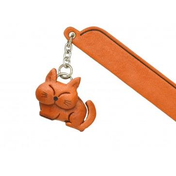 Sleeping Cat Plain Leather Charm Bookmarker