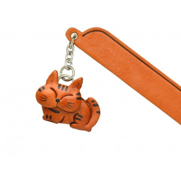 Sleeping Cat Tabby Leather Charm Bookmarker