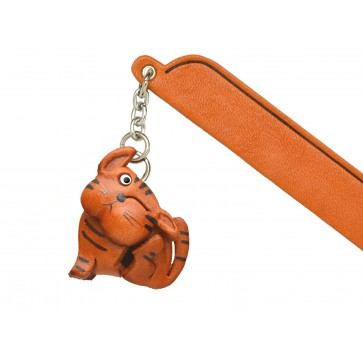 Scratching Cat Tabby Leather Charm Bookmarker