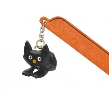 Sitting Cat Black Leather Charm Bookmarker