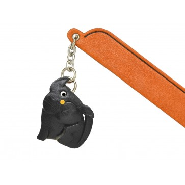 Scratching Cat Black Leather Charm Bookmarker