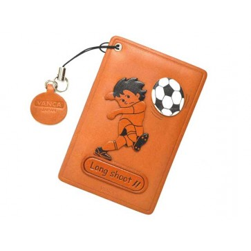 Soccer Long shoot Leather Commuter Pass case/card Holders