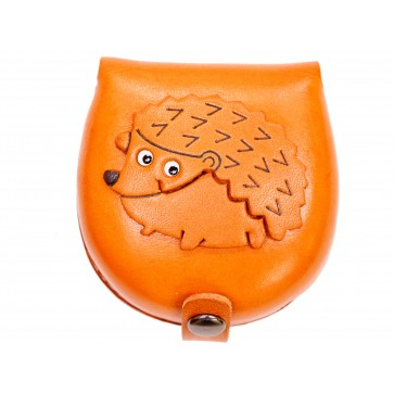 Hedgehog-brown Handmade Genuine Leather Animal Color Coin case/Purse #26088-1