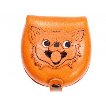 Chihuahua-brown Handmade Genuine Leather Animal Color Coin case/Purse #26091-1