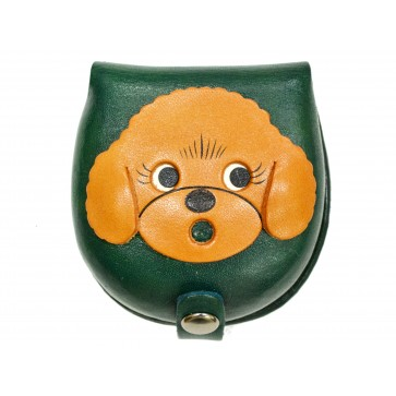 Toy poodle-green Handmade Genuine Leather Animal Color Coin case/Purse #26092-3
