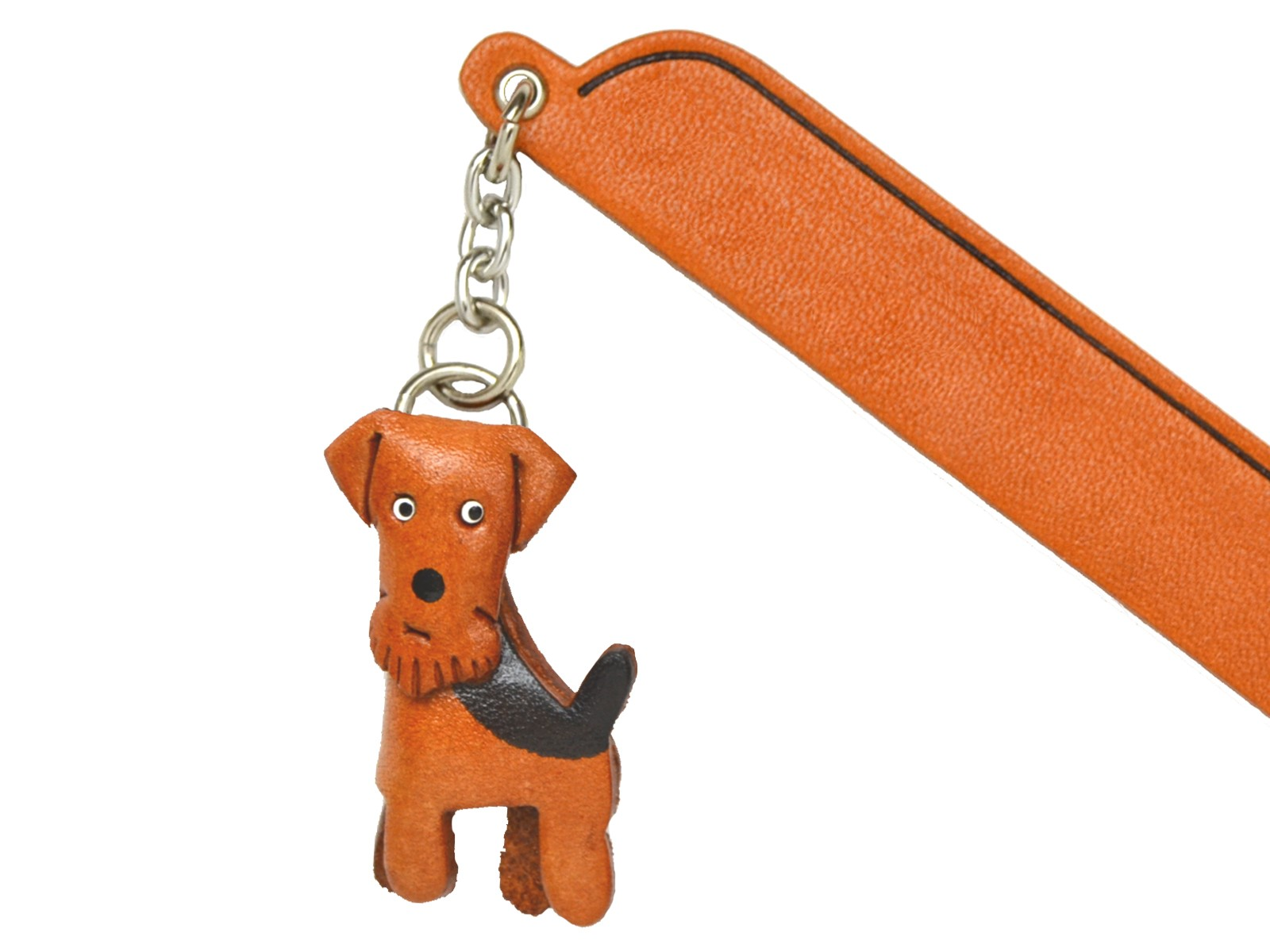 Airdale terrier Leather dog Charm Bookmarker *VANCA* Made in Japan #61702