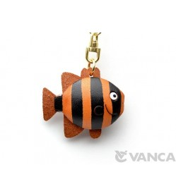 Stripde Fish Leather Keychain(L)