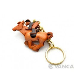 Horse Rider Leather Keychain(L)