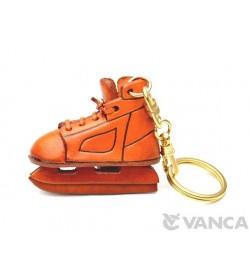 Ice Skate Shoe Leather Keychain(L)