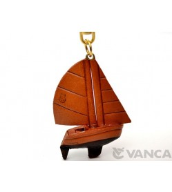 Sailboat Leather Keychain(L)