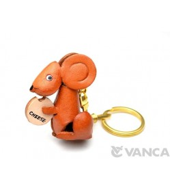 Mouse with Cheese Leather Keychain(L)