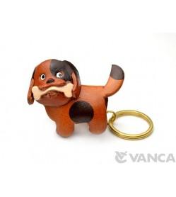 Chubby Dog Leather Keychain(L)