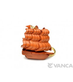 Historical Sailing Boat Leather Keychain(L)