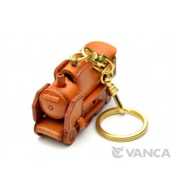 Steam Locomotive Japanese Leather Keychain(L)