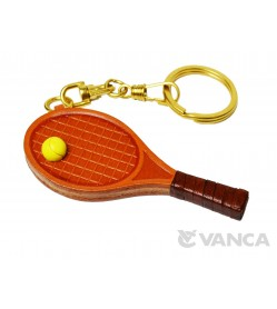 Tennis Racket Leather Keychain(L)