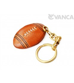 Rugby Ball/American Football Leather Keychain