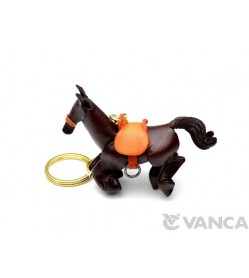 Galloping Horse Leather Keychain(L)