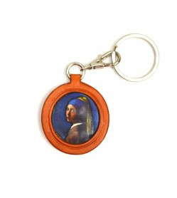 Vermeer's Girls with Pearl Earring Leather plate Keychain