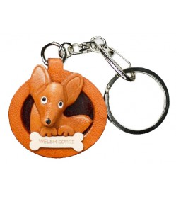 Welsh Corgi Leather Dog plate Keychain