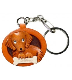 Golden Retriever Leather Dog plate Keychain