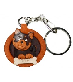 Shiba Black&Tan Leather Dog plate Keychain