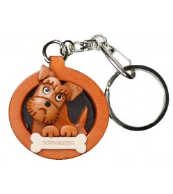 Schnauzer Leather Dog plate Keychain