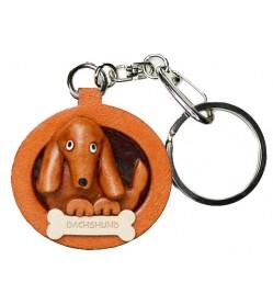 Dachshund Smooth Leather Dog plate Keychain